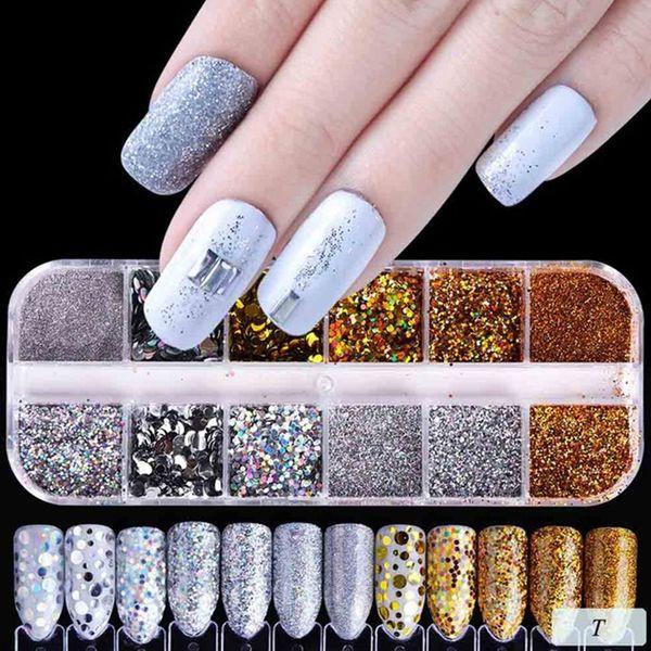 1 set di paillettes glitter per unghie glitter iridescenti a forma di cuore con fiocchi glitter per unghie decorazioni fai da te