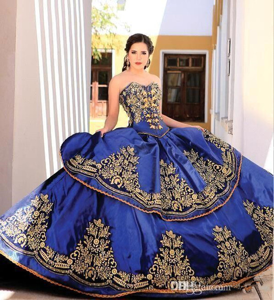 Vintage Sweetheart Satin Ball Gown Quinceanera Dresses Gold Lace Applique Embroidery Layered Beaded Floor Length Prom Dresses
