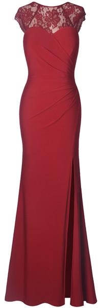 Fazadess Women's Floral Lace Split Side Formal Party Maxi Long Dress