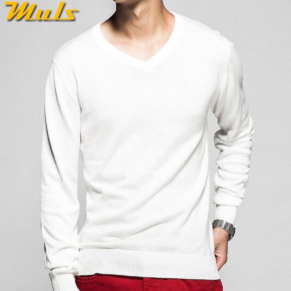 2018 Padrão V Neck Mens camisola capuz básico de malha de algodão de Natal Sweater Jumpers Masculino Malhas Vermelho Preto Branco Amarelo