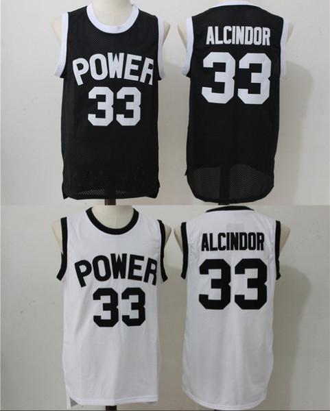 #33 Lew Alcindor Jr Kareem Abdul Jabbar Power High School Basketball Jersey Black White Vintage