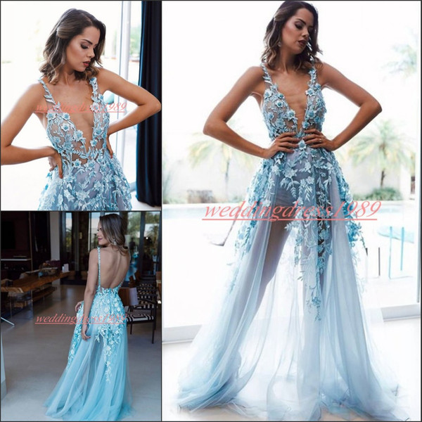 Sexy Deep V-Neck Evening Dresses See Through Robe de soirée Backless Prom Formal Open Back Floral Tulle Occasion Party Celebrity For Women