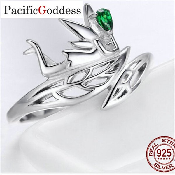 wholesale 925 Sterling Silver Ring CZ for Women Christmas Gift Jewelry animal sharp rings Adjustable size ring bijou green