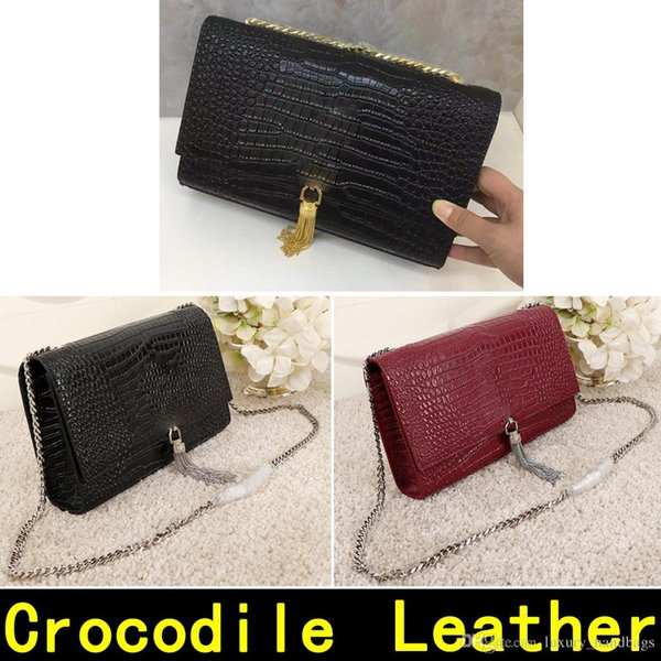Saint Crocodile pattern Original Leather Gold Silver chain pendant Genuine Leather high quality Luxury Designer Handbags Shoulder Bags 8037