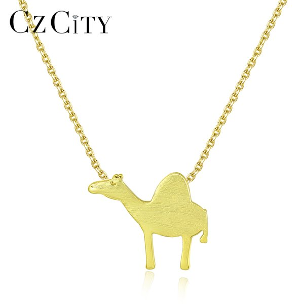 CZCITY Pure 925 Sterling Silver Animal Petite Pendant Necklace for Women Brushed Design Link Chain Necklace Fine Jewelry Bijoux
