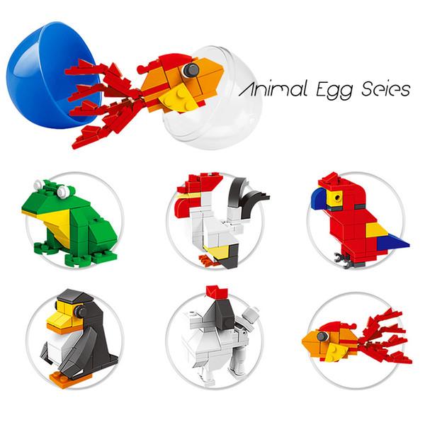 Building blocks Kids Mini Animals Surprise Twist Eggs Toys Goldfish Penguin Dog Frog Bricks Toys Birthday Party Gifts Supplier