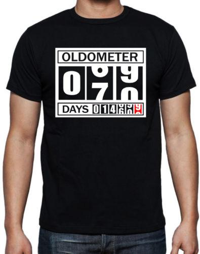 70th Birthday Oldometer Funny Present Gift Party Dad Father Pop Black T Shirt