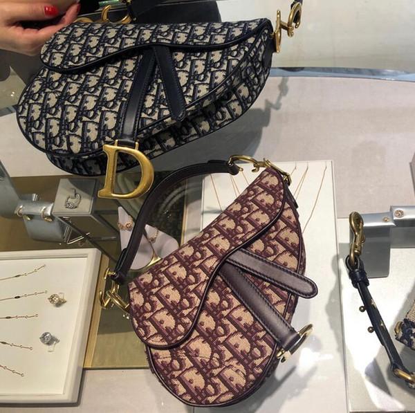 best selling 2019 Classic Lux Designer CChristian SADDLE OBLIQUE small retro old flower canvas saddle bag flip single shoulder diagonal handbag