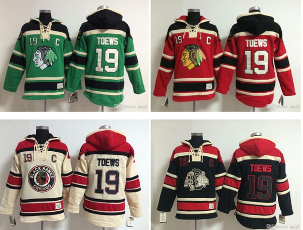 Üst kalite ! NHL Chicago Blackhawks Eski Zaman Hokey Formaları 19 Jonathan Toews Hoodie Kazak Tişörtü Kışlık Ceket Mix Sipariş!