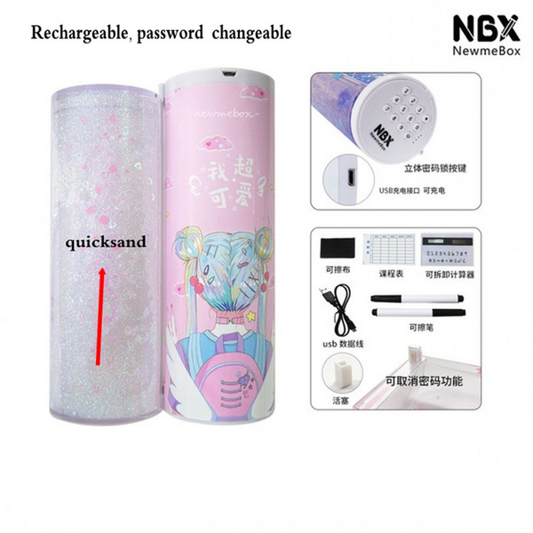 best selling 2020 Newmebox Half Quicksand Translucent Creative MultifunctionPassword lock Cylindrical ipen &Pencil Box, Stationery Box Pen &Pencil Holder