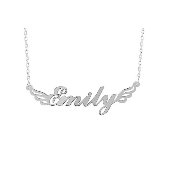 Personalized Angel Wings Name Necklace Customized Jewelry Silver Rose Gold Necklaces & Pendants Christmas Gift