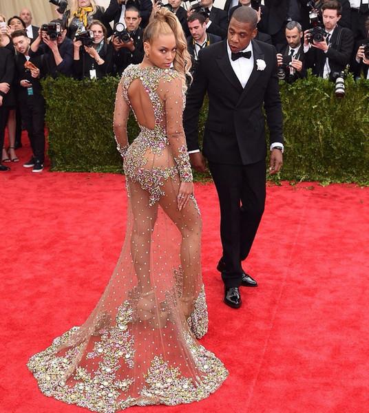 Beyonce Dresses 2019 Sexy Long Sleeve Mermaid Prom Dresses With Crystal Beaded Floor Length Backless Luxury Vestidos de fiesta largos