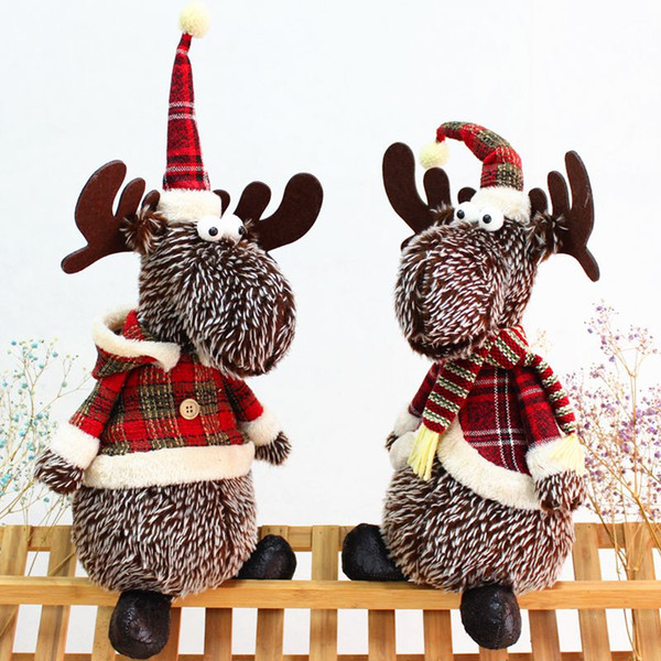 christmas table ornament home decoration cute plush elk doll sitting festival gift