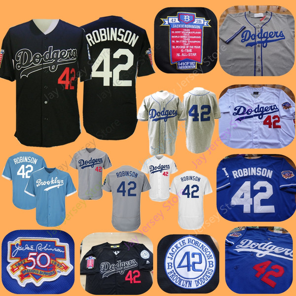 buy online 72a1c 08788 2019 Brooklyn Dodgers Jackie Robinson Jersey Home Away All Stitched Black  Baby Blue White Men Women Youth From Davidjersey, $16.26 | DHgate.Com