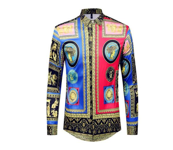 Mode Nouveaux chemises pour hommes occasionnels Mode Chemises à manches longues pour hommes Chemises Hommes Medusa Business Slim Fit Shirts