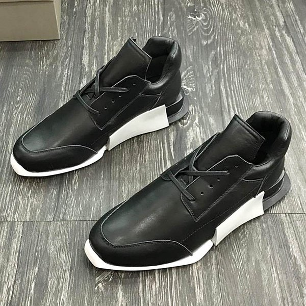 2018 American luxury brand trend men's sports shoes with exquisite outsole leather strap design high-grade outdoor casual running qs