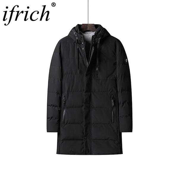 Winter Jacket Mens Thick Thermal Cotton Parka Coats Male Casual Hoodies Windbreaker Long Coats Work Clothes Men Black/Dark Blue