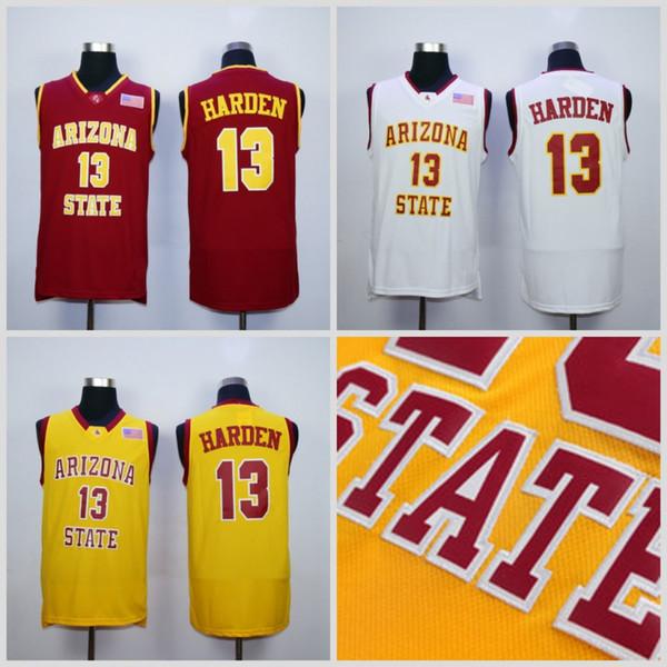 NCAA 13 James Harden College Jerseys Arizona State Sun Devils Jersey Hombres Equipo de baloncesto Rojo Lejos Amarillo Blanco para fanáticos del deporte Envío gratis