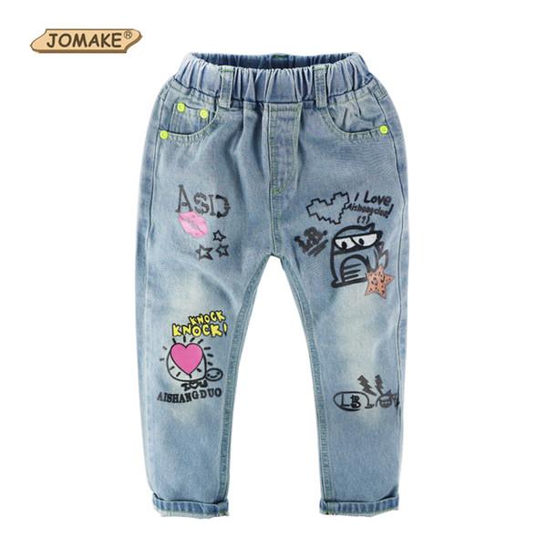 Girls Jeans 2018 Autumn/Spring New Brand Design Children Clothing Cartoon Graffiti Washed Elastic Waist Casual Kids Denim Pants