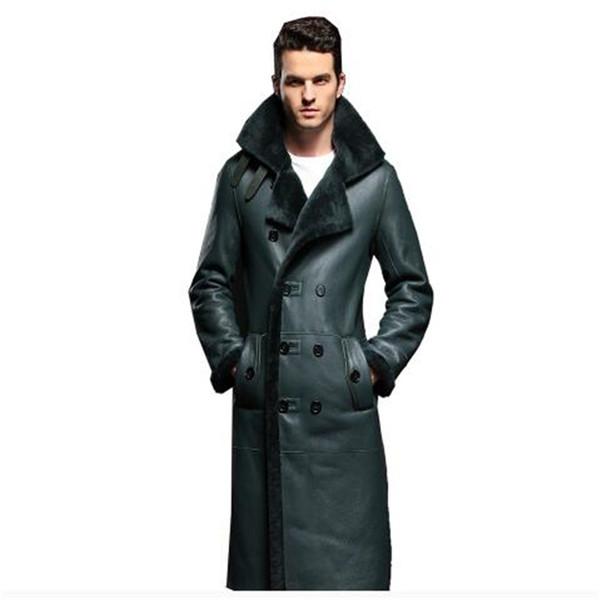 Real Sheepskin Fur Coat Genuine Leather Male Formal Casual Winter Long Thick Jacket Sheepskin Shearling Men Fur Outwear 4XL 5XL