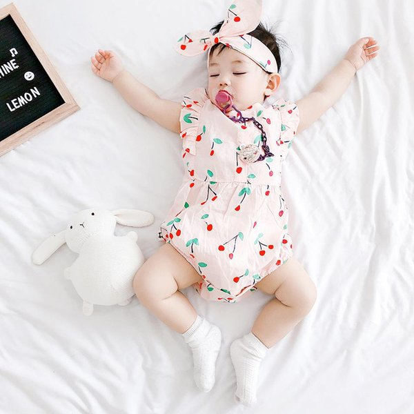 baby clothes summer baby kids sleeveless climbing romper 100% cotton little cherry romper kids cute rompers 0-2T