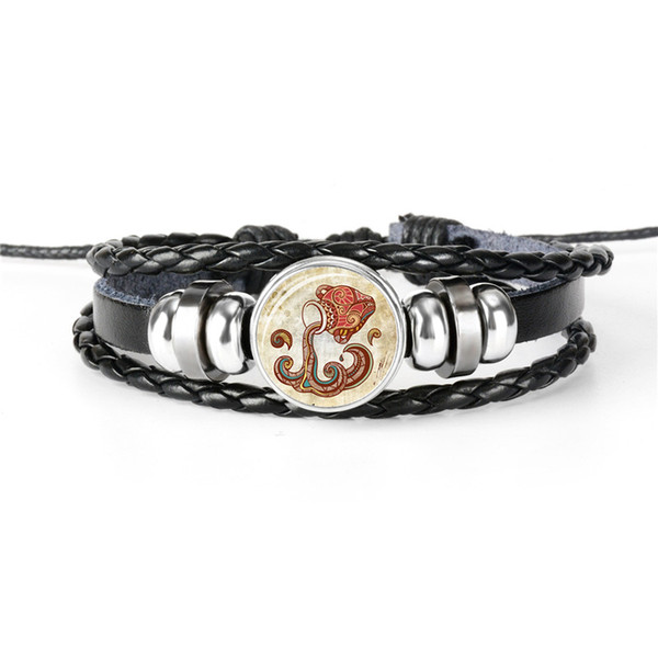 Hot Casual Leather Rope Beaded Bracelet 12 Constellations Zodiac Aquarius Time Gem Glass Cabochon Bangles Wrist Band Best Gift for Women Men