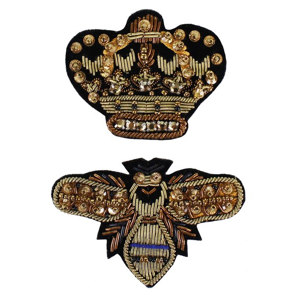 1set Indian Silk Badges Beaded Gold Crown Bee Patches Embroidery Applique for Clothes Craft Sewing Accessories