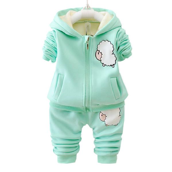 Otoño invierno de los niños muchachas de los muchachos Ropa de la manera fija con capucha de la chaqueta de la historieta del bebé de los pantalones 2pcs / juegos infantil Agregar algodón