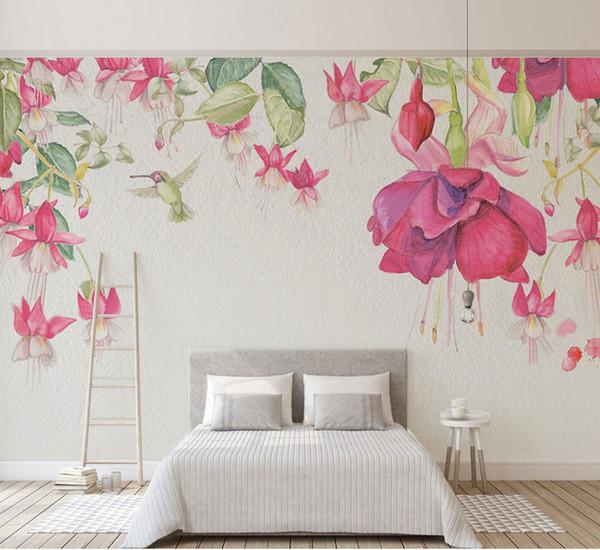 3D Modern Hand Painted Flower Wallpaper Art Wall Mural Living Room Sofa  Background Wall Mural Bedroom Wallpaper Pink Decor Cell Wallpapers  Cellphone ...