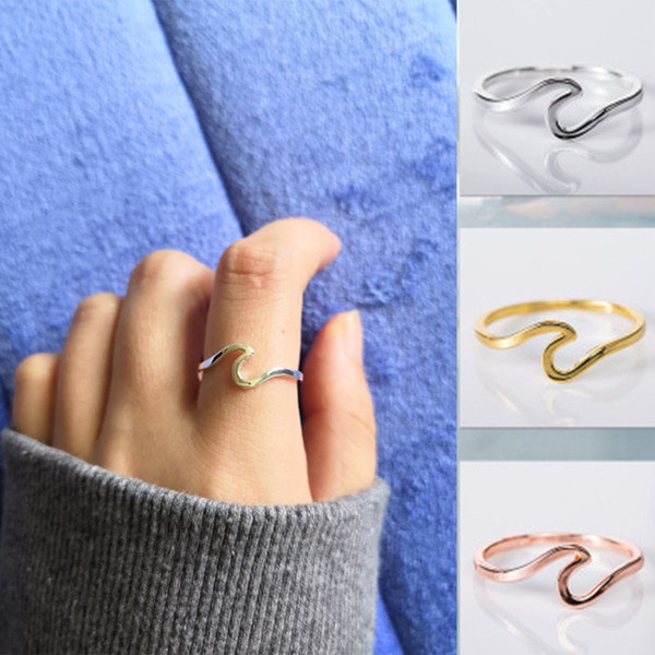 best selling 2019 Fashion Ocean Wave Ring Simple Dainty 925 Sterling Silver Thin Wave Ring Summelrr Beach Sea Surfer Personality Jewey