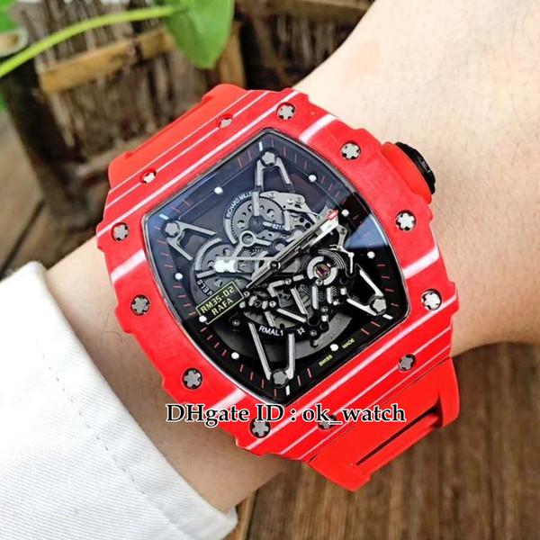 NOVA caixa de fibra de carbono R35-02 Rafa Japão Miyota Automático Mens Watch Oco Dial Rubber Strap tudo vermelho Top qualidade Gents melhores relógios do esporte