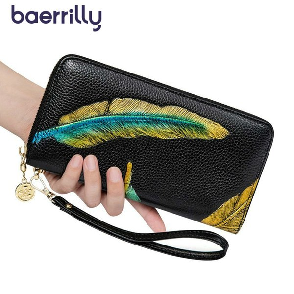 Fashion Feathers Prints Genuine Leather Wallets Women Wallet Money Pocket Long Clutch Bag Coin Purse Zipper Female Card Holder
