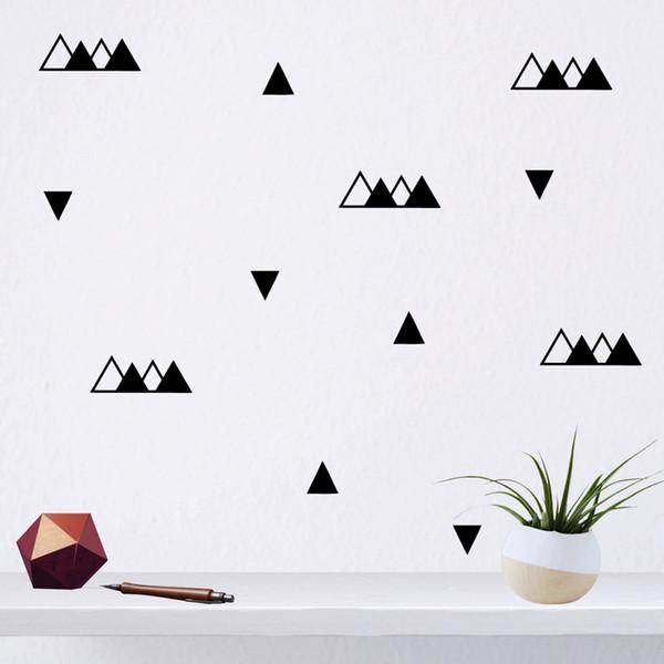 DCTOP Set di 46 triangoli neri Stickers murali Motivo geometrico rimovibile Idee regalo Art Decalcomanie in vinile Camera dei bambini Nursery