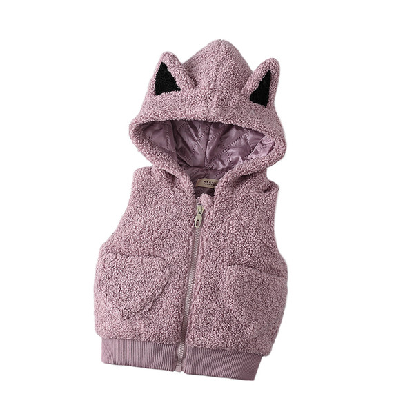 0-4 year baby girl clothing autumn winter Solid cartoon kid children girl clothing jacket outerwear wasitcoat baby girl vest