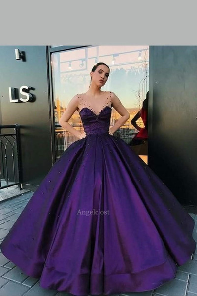 Purple Stain Ball Gowns Prom Dress 2019 Illusion Straps Backless Evening Dinner Party Special Occasion Gowns Vestido De Fiesta Customized