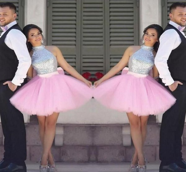 Sparkling Sequined Prom Dresses A Line Short Party Dress Cheap Tutu Skirt Zipper Back Formal Evening Dresses Homecoming Gown DH188