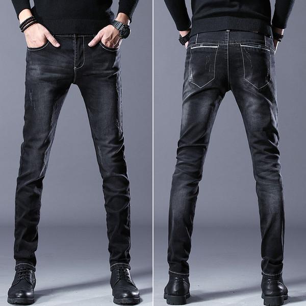 QMGOOD New Fashion Black Jeans Men Vintage Design Korean Skinny Jeans Men Casual Denim Pants Youth Classical Pencil Pants