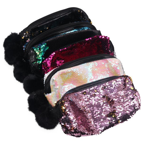 7 pcs Flash Double Sided Sequins Plush Ball Pencil Bag Fashion Student Office Supplies Stationery Fabric Female School Supplies