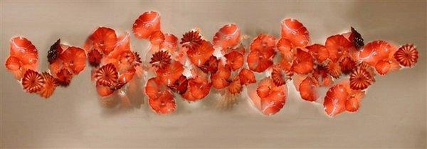 Бесплатная Доставка Красивый Специальный Дизайн Стеклянные Пластины Стены Искусства Чихули Муранского Стекла Искусство Цветок Стены Свет Украшения
