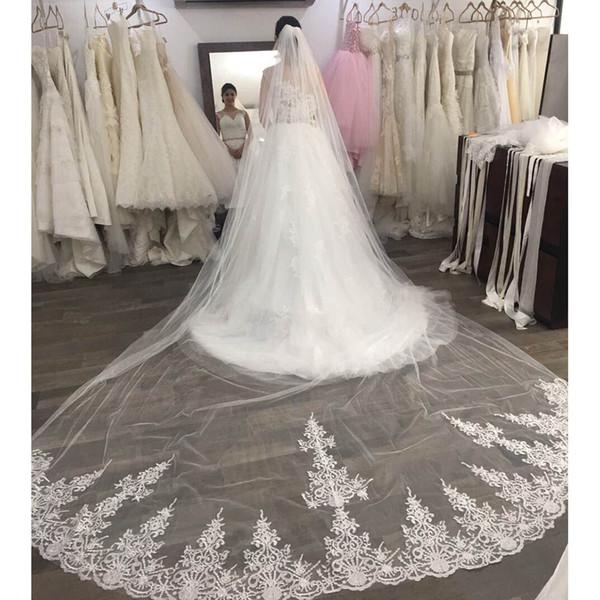 Yüksek Kalite Uzun 4 Metre Dantel Düğün Peçe Tek Katmanlı 4 M Tarak ile Düğün Aksesuarları 2019 Gelin Peçe
