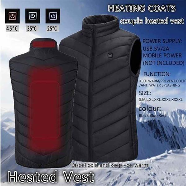 USB hombres al aire libre de calefacción por infrarrojos chaqueta de invierno chaleco flexible eléctrico ropa térmica para acampar Chaleco Deportes Senderismo