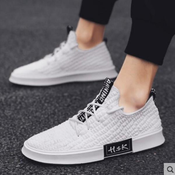New flying fabric casual shoes, breathable canvas shoes men's fashion shoes, high quality stretch socks for men and women shoes 38 W53