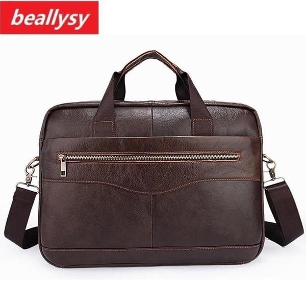 New Enuine Cowhide Leather Mens Business Briefcase Laptop Bags Mens Travel Bag Portfolio Men Shoulder Bag Man Handbag