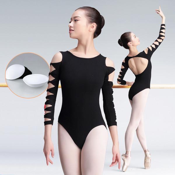 Sexy preto bodysuits moda feminina ballet dança desgaste manga comprida yoga macacão adulto dançando ginástica collant prática DC1243