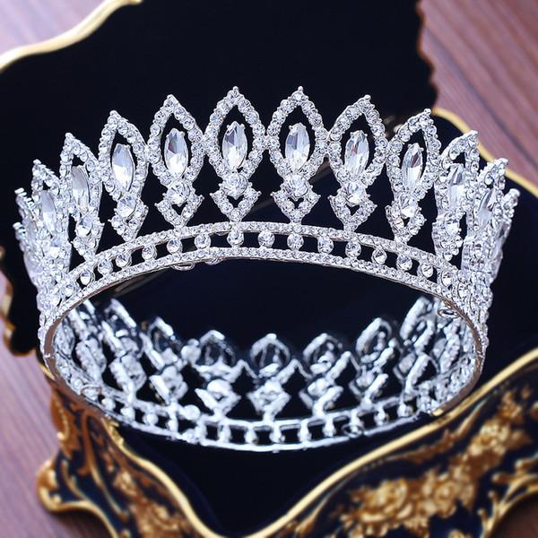 Atemberaubende Silber Kristall Vollkreis Braut Königin Krone Luxuriöse Hochzeit Pageant Tiara Krone Für Braut Haarschmuck Zubehör C19041101