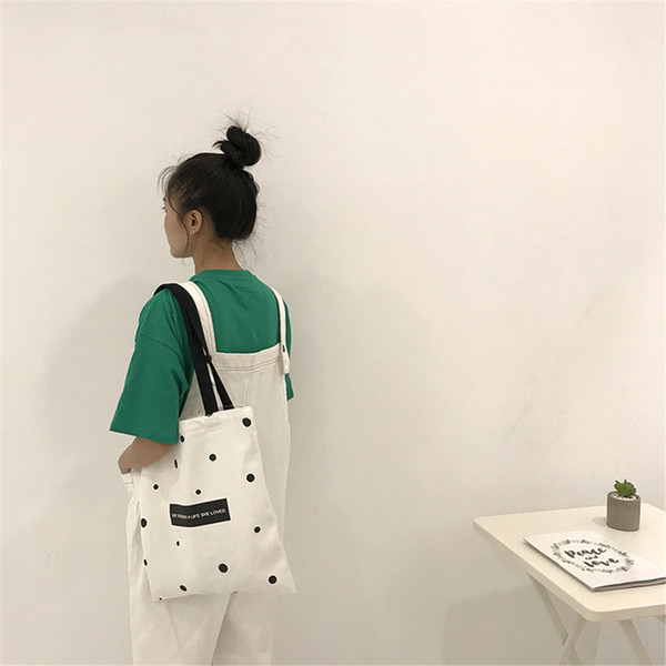 Vintage Cute Black Dot Practical Canvas Bag Natural Tote Bags Reusable Grocery Shoulder Bags With Zipper Durable Large Handbag