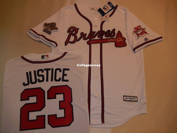 Cheap personalizzato 1995 AB # 23 camicia David Justice Top Jersey New WHT Mens cucita maglie grande e grosso formato XS-6XL In vendita