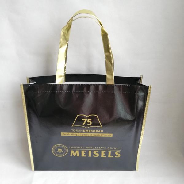 1000 teile / los 40x30Hx10cm Benutzerdefinierte Logo Laminiert Schwarz Metallic Laser Vlies Schulter Einkaufstaschen mit Goldrand und Griff