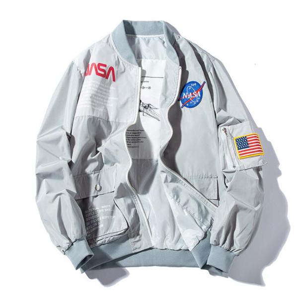 Brand New NASA Flight Pilot Mens Designer Jacken Casual MA1 Bomberjacke Herbst Brief Gedruckt Windjacke Mens Oberbekleidung
