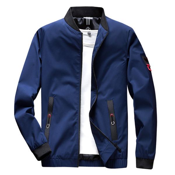 TFETTERS 2019 Primavera Otoño Casual Sólido Slim Stand Chaqueta Bomber Hombres Moda Abrigo Chaquetas de béisbol Chaqueta Streetwear de los hombres